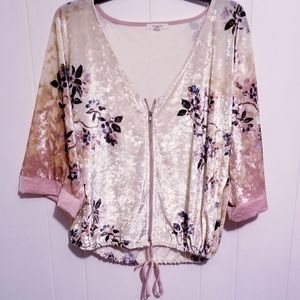 Maurices Womens S/M velour zip up floral top